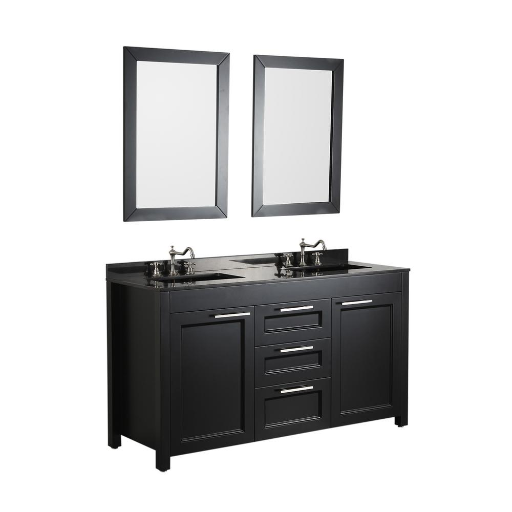 Bosconi Bosconi 60.2 in. W Double Bath Vanity in Black with Granite Vanity Top in Black with White Basin and Mirror