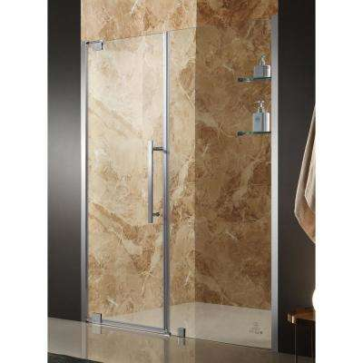Duke 48 in. x 72 in. Semi-Frameless Pivot Shower Door in Brushed Nickel with Handle