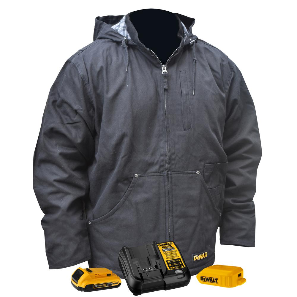 DEWALT Unisex Large Black Duck Fabric Heated Heavy Duty Work Coat with 20-Volt/2.0 Amp Battery and Charger