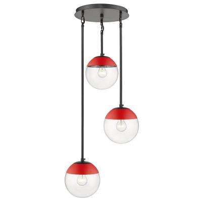 Dixon 3-Light Pendant in Black with Clear Glass and Red Cap