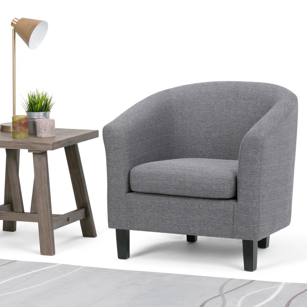simpli home austin grey fabric arm chair axctub 003 gl the home depot