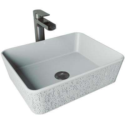 Zinnia Concrete Vessel Sink in Ash with Faucet in Graphite Black