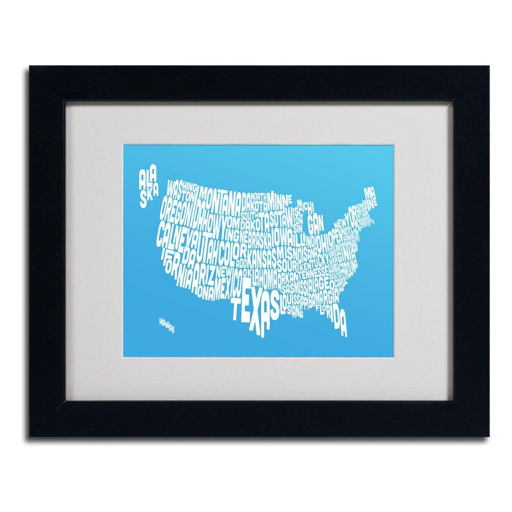 Trademark Fine Art 11 in. x 14 in. USA States Text Map - Azul Matted Framed Art