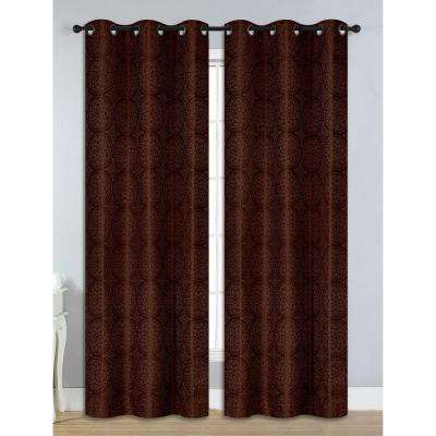 Semi-Opaque Marcus Jacquard Room Darkening Grommet Curtain Panel