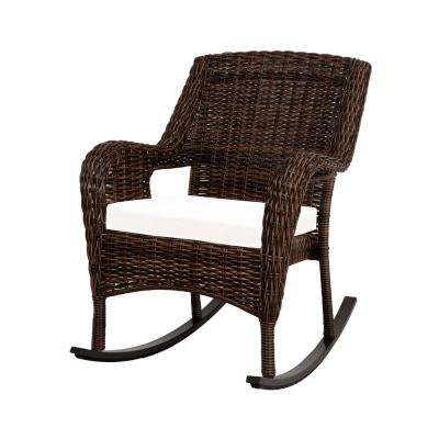 Cambridge Brown Stainless Steel Wicker Outdoor Patio Rocking Chair with Bare Cushions