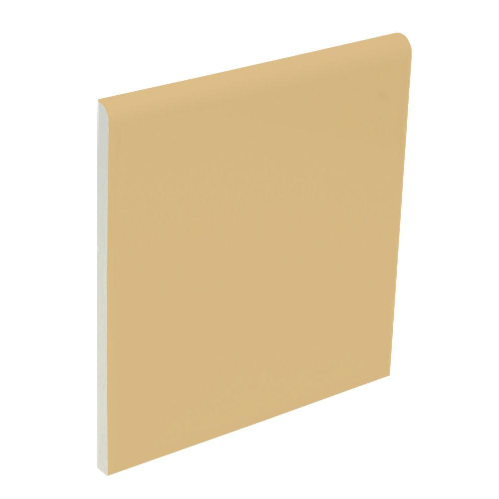 U.S. Ceramic Tile Color Collection Bright Camel 4-1/4 in. x 4-1/4 in. Ceramic Surface Bullnose Wall Tile-DISCONTINUED