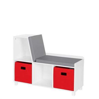 Kids White Storage Bench with Cubbies with 2pc Red Bins