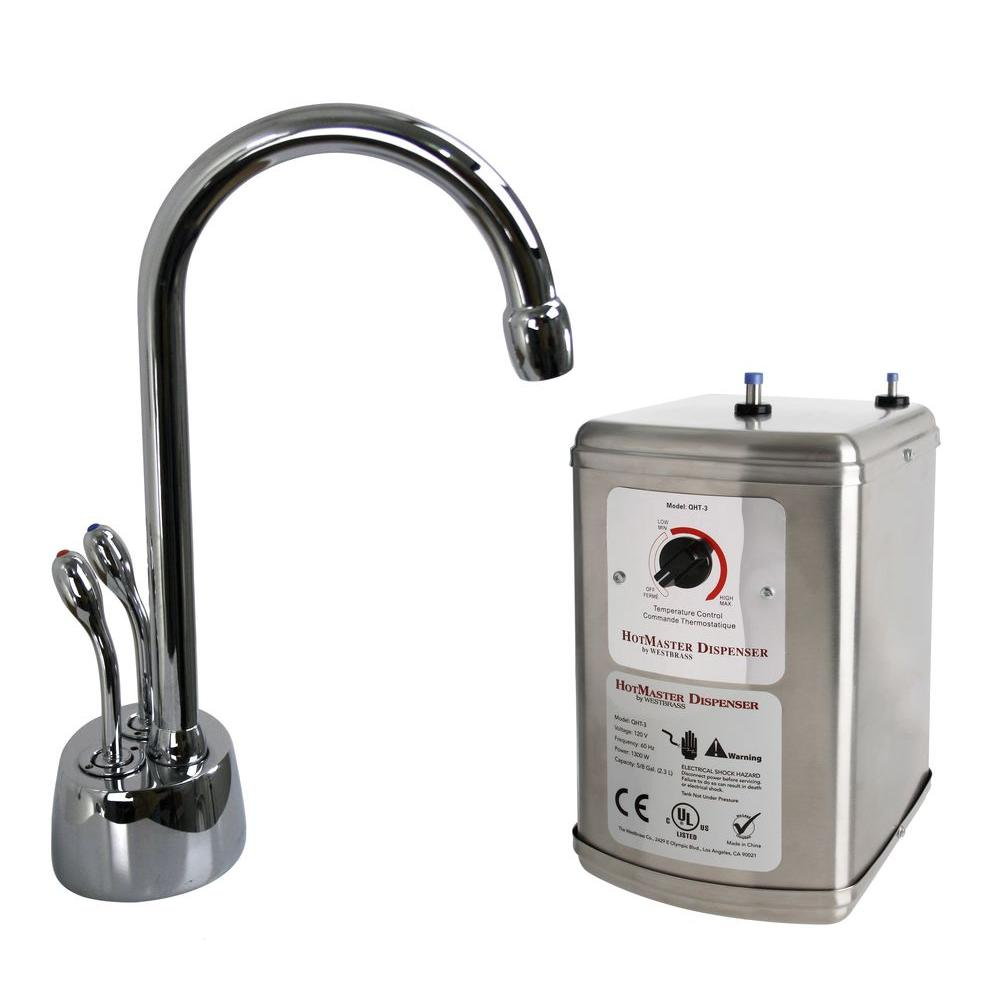Westbrass Develosah 2-Handle Hot and Cold Water Dispenser with Tank in Polished Chrome