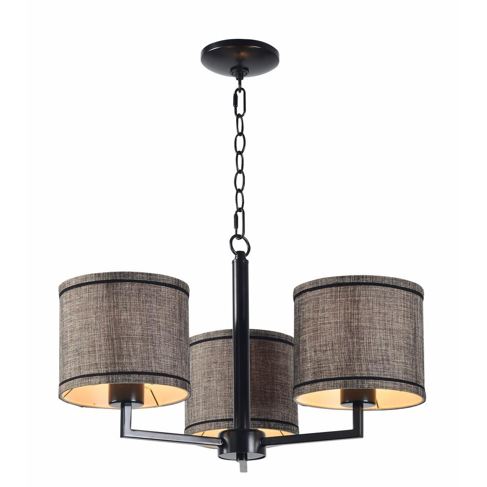 Bowman 3-Light Bronze Chandelier with Bronze Shade