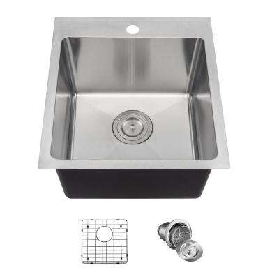 Drop-in Stainless Steel 17 in. 1-Hole Single Bowl Kitchen Sink