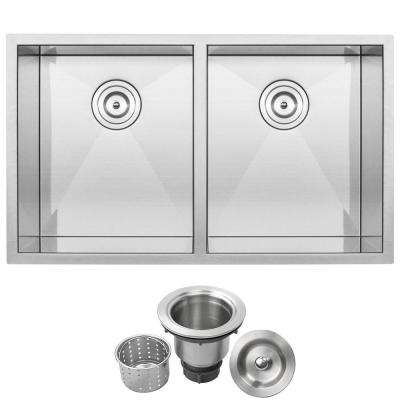 Pacific Zero Radius Undermount Series 16-Gauge Stainless Steel 32 in. Double Basin Kitchen Sink with Basket Strainer