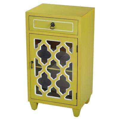 Shelly Assembled Yellow Wood 16.75 in. x 16.75 in. x 12.75 in. Glass Accent Cabinet with a Drawer