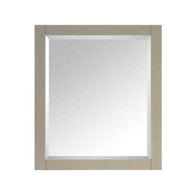 28 in. W x 32 in. H Single Framed Wall Mirror in Taupe Glaze