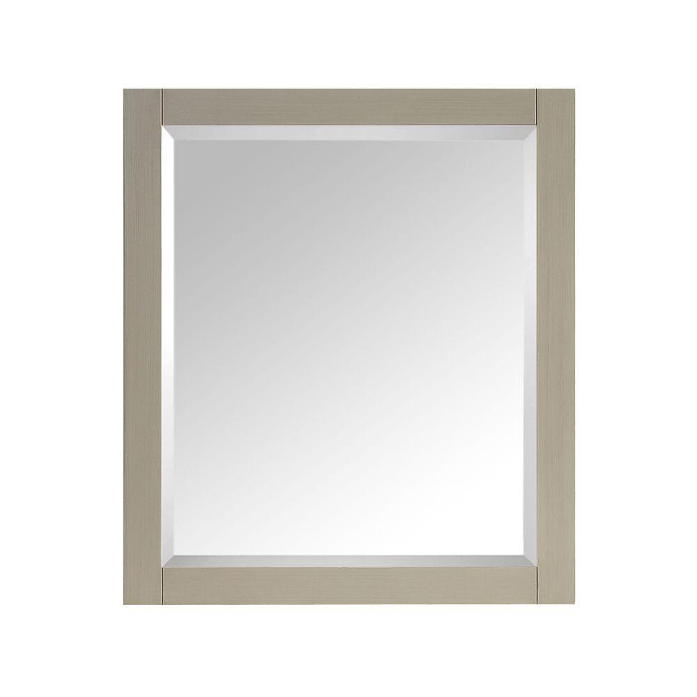 28 in. W x 32 in. H Framed Rectangular Beveled Edge Bathroom Vanity Mirror in Taupe Glaze