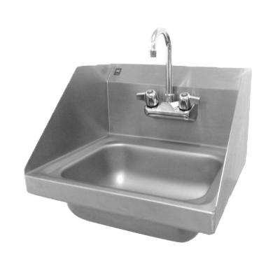 H30 Series Wall Mount Stainless Steel 17 in. 2-Hole Single Basin Kitchen Sink with End Splashes and Lead-Free Faucet