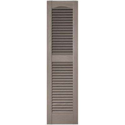 12 in. x 48 in. Louvered Vinyl Exterior Shutters Pair in #008 Clay