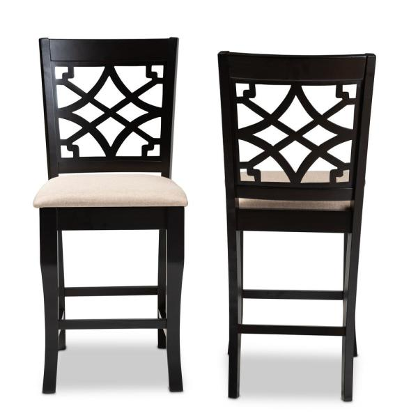 Baxton Studio Nisa 43 in. Sand and Espresso Counter Stool (Set of 2)