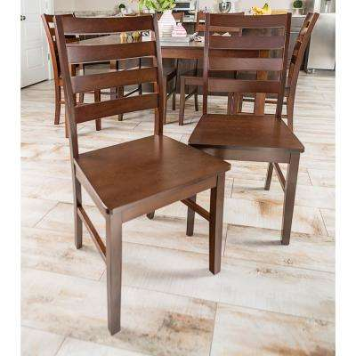 Walnut Wood Ladder Back Dining Chair (Set of 2)
