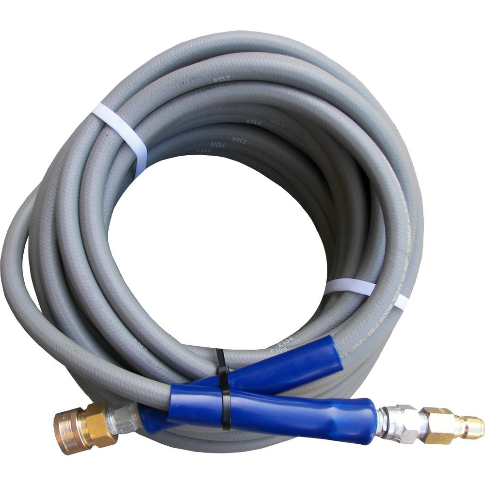 Pressure-Pro 3/8 ft. x 50 ft. Gray Pressure Washer Replacement Hose, Non-Marking with Quick Disconnects