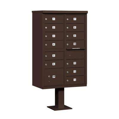 Bronze USPS Access Cluster Box Unit with 13 B Size Doors and Pedestal