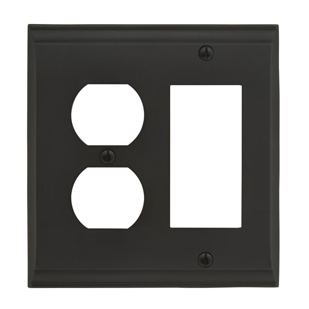 Candler 1 Rocker, 1 Receptacle Black Bronze Wall Plate