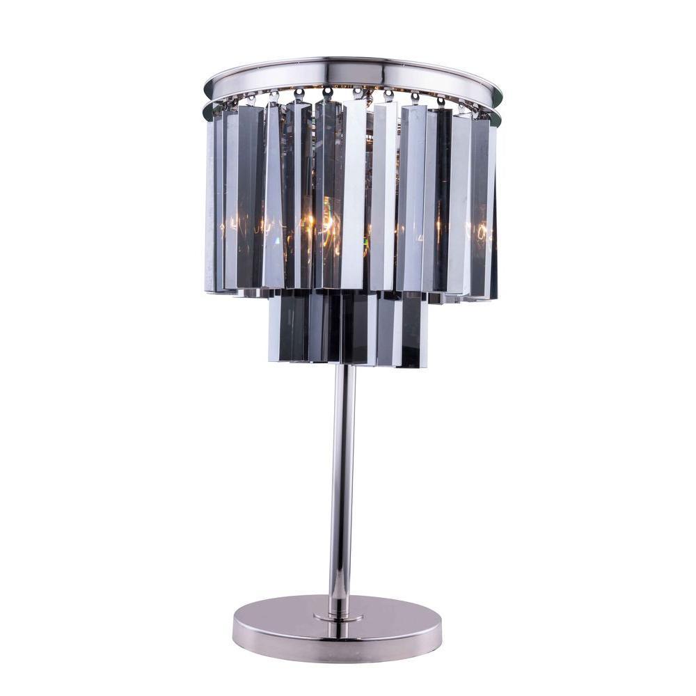 Elegant lighting sydney 26 in polished nickel table lamp with elegant lighting sydney 26 in polished nickel table lamp with silver shade grey crystal 1201tl14pn ssrc the home depot audiocablefo