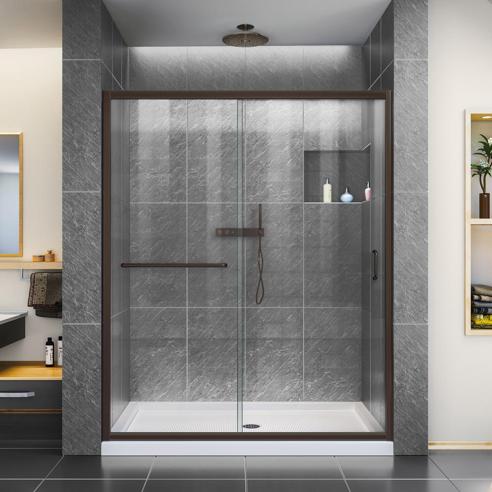 Infinity-Z 32 in. x 60 in. Semi-Frameless Sliding Shower Door in Oil Rubbed Bronze with Center Drain Base in White