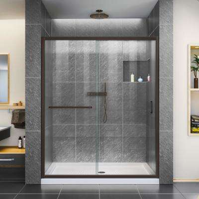 Infinity-Z 60 in. x 74-3/4 in. Framed Sliding Shower Door in Oil Rubbed Bronze with Right Drain Shower Base in Biscuit