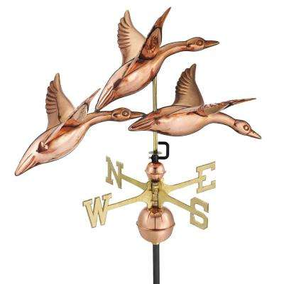 28 in. 3 Geese in Flight Weathervane - Pure Copper