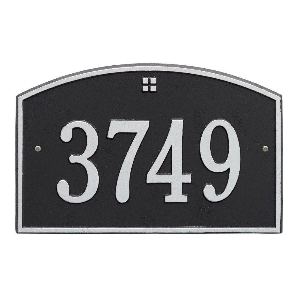 Cape Charles Standard Rectangular Black/Silver Wall 1-Line Address Plaque