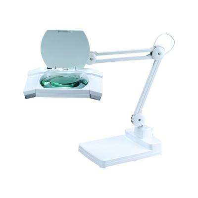 31 in. White Multi-Function Full Spectrum LED Magnifying Table Lamp