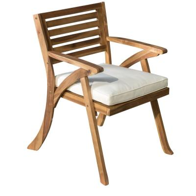 Hermosa Teak Removable Cushions Wood Outdoor Dining Chair with Cream Cushions (2-Pack)