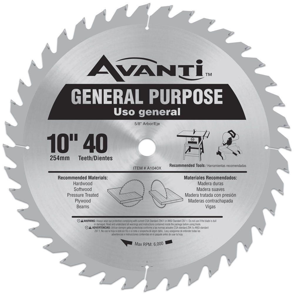 Avanti 10 in. x 40-Teeth General-Purpose Saw Blade-A1040X - The Home ...