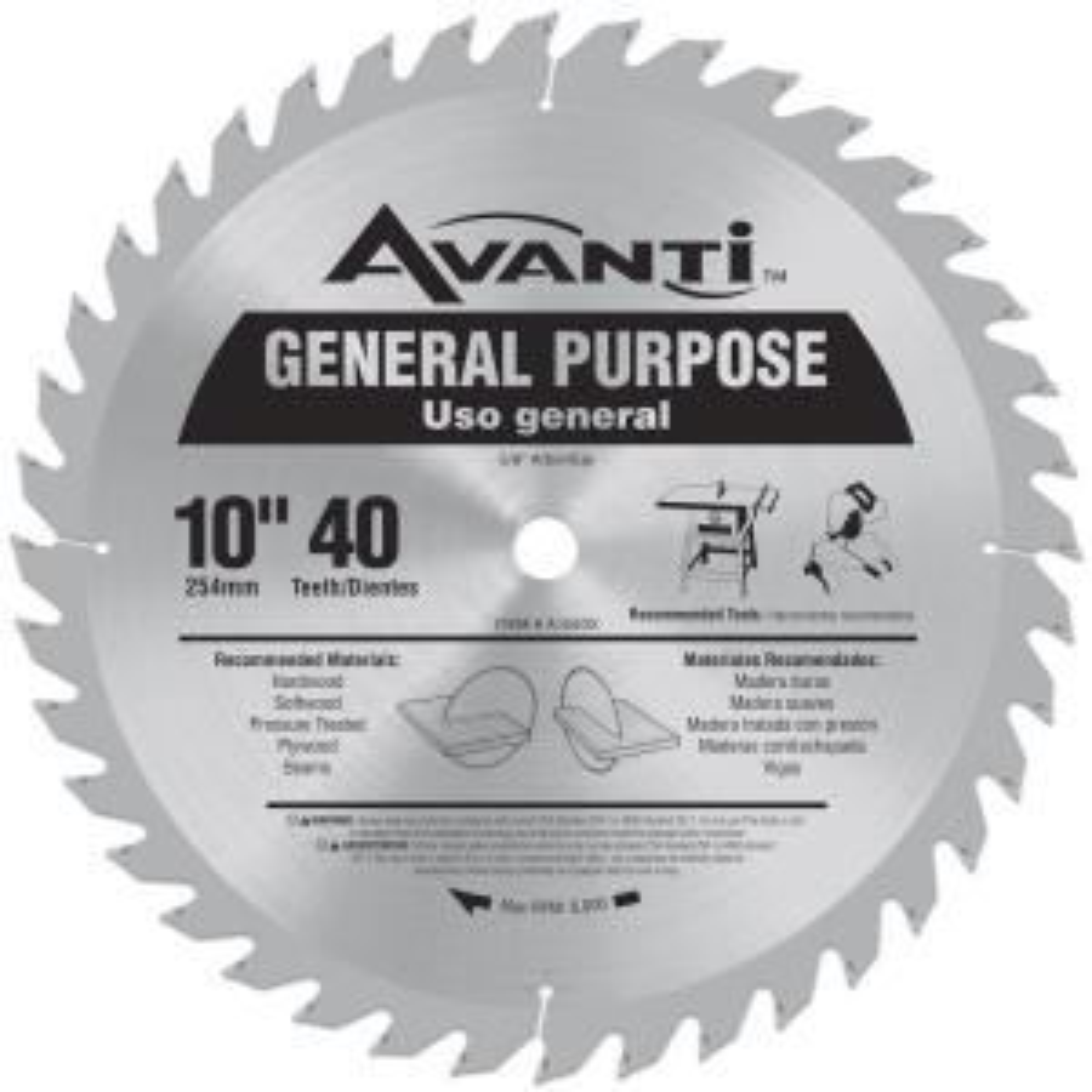 Avanti 10 In X 40 Teeth General Purpose Saw Blade A1040x