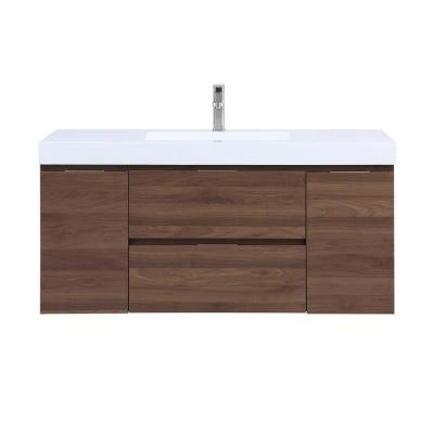 Helena 49 in. Wall Mounted Bathroom Vanity in Walnut with Resin Vanity Top in White with Single White Basin