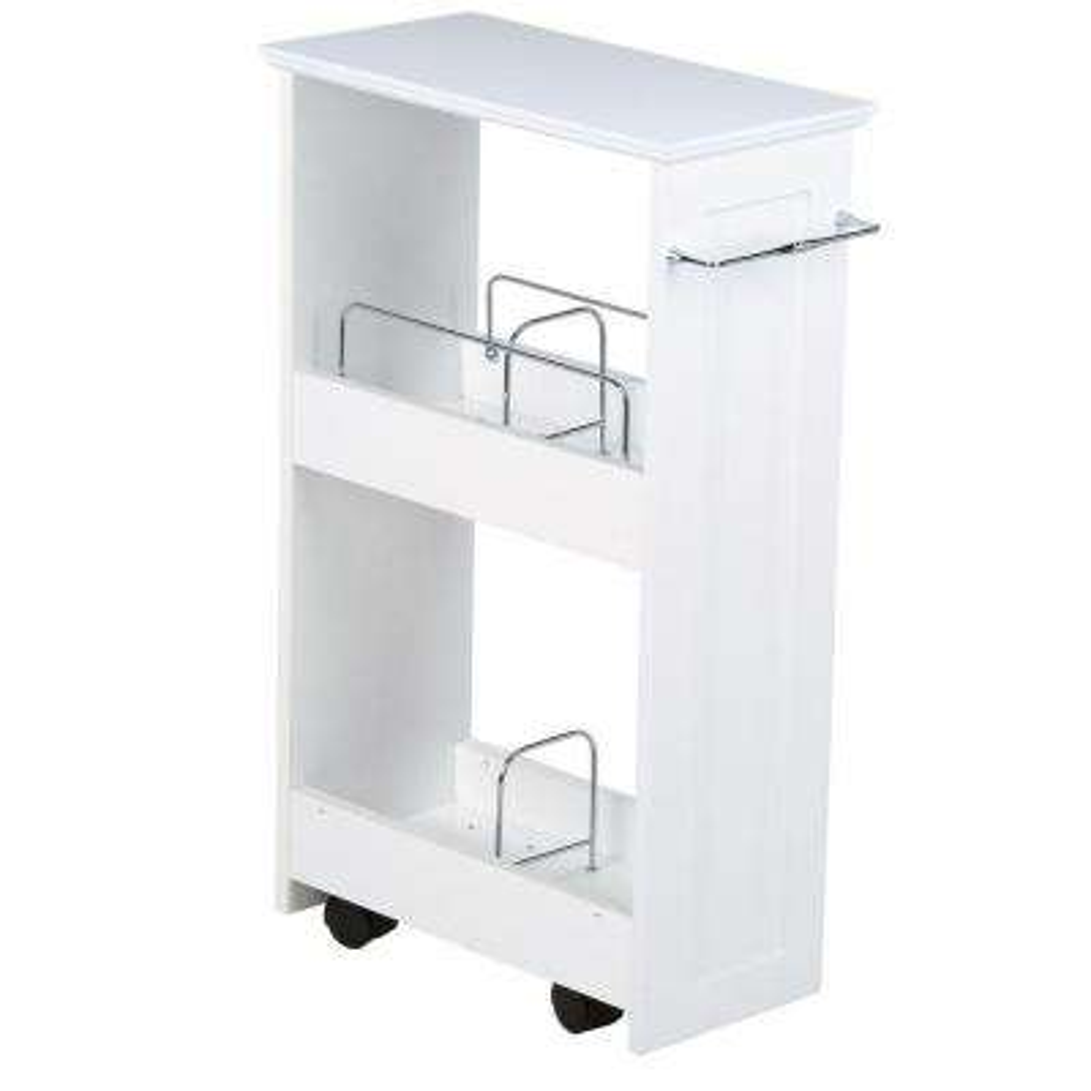 Slimline 16 in. W Rolling Floor Wood Storage Shelf in White