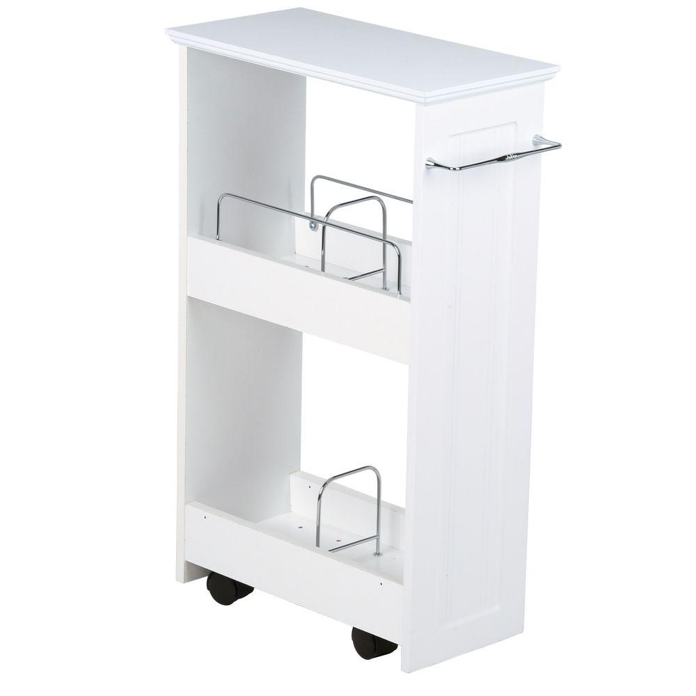 Beautiful W Rolling Floor Wood Storage Shelf In White