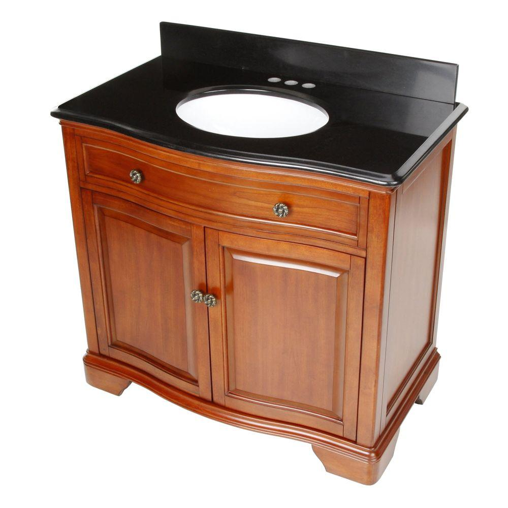 Pegasus Manchester 36 in. Vanity in Mahogany with Granite Vanity Top in Black with White Basin-DISCONTINUED