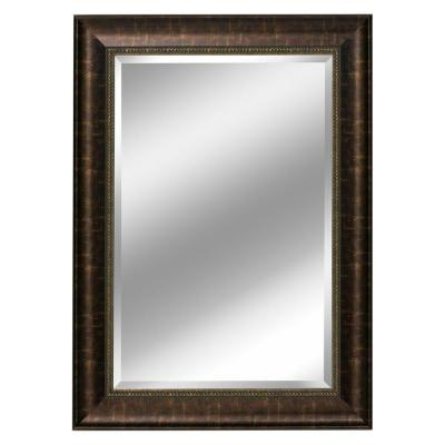 31 in. W x 37 in. H Framed Rectangular Beveled Edge Bathroom Vanity Mirror in Bronze