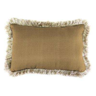 Sunbrella 19 in. x 12 in. Linen Straw Outdoor Throw Pillow with Canvas Fringe