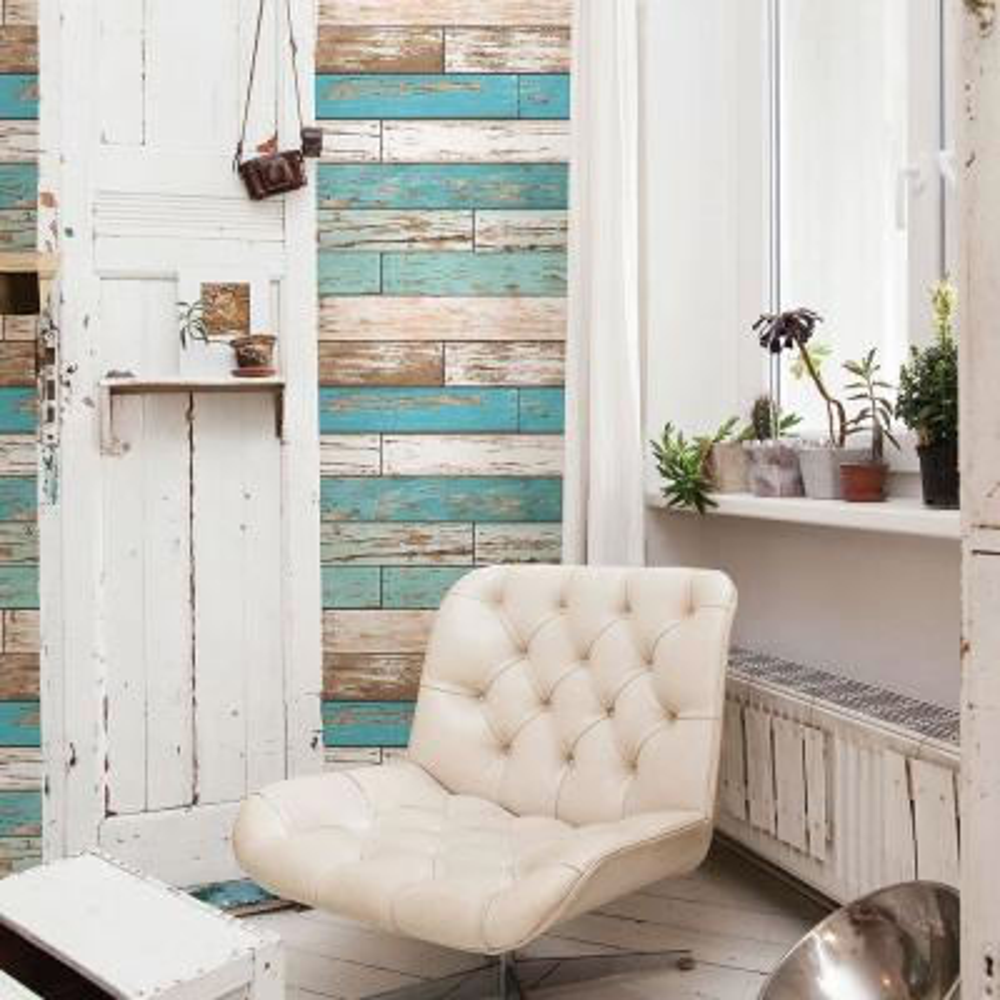 56.4  sq. ft. Levi Turquoise Scrap Wood Wallpaper