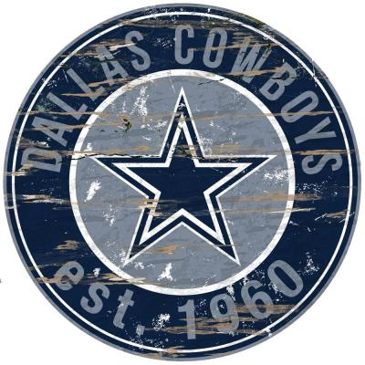 "24"" NFL Dallas Cowboys Round Distressed Sign"