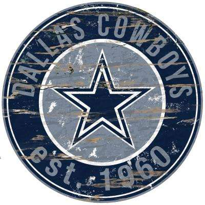 """24"""" NFL Dallas Cowboys Round Distressed Sign"""