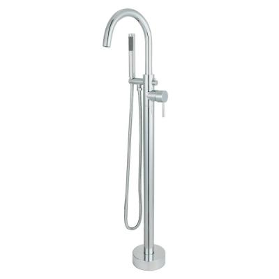 Acerra Single-Handle Freestanding Floor-Mount Roman Tub Faucet with Hand Shower in Polished Chrome