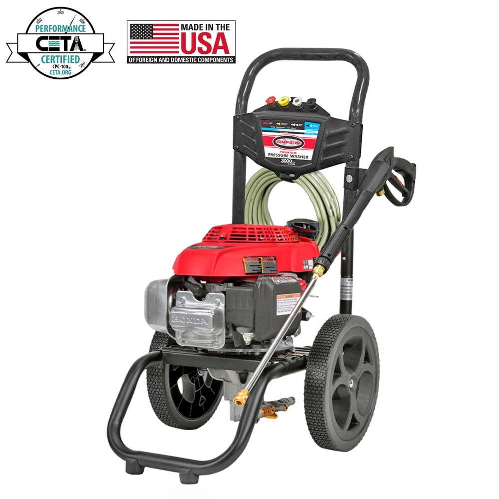 Simpson SIMPSON MegaShot MS60809-S 3000 PSI at 2.4 GPM HONDA GCV160 Cold Water Pressure Washer