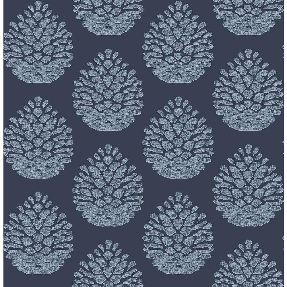 56.4 sq. ft. Totem Blue Pinecone Wallpaper
