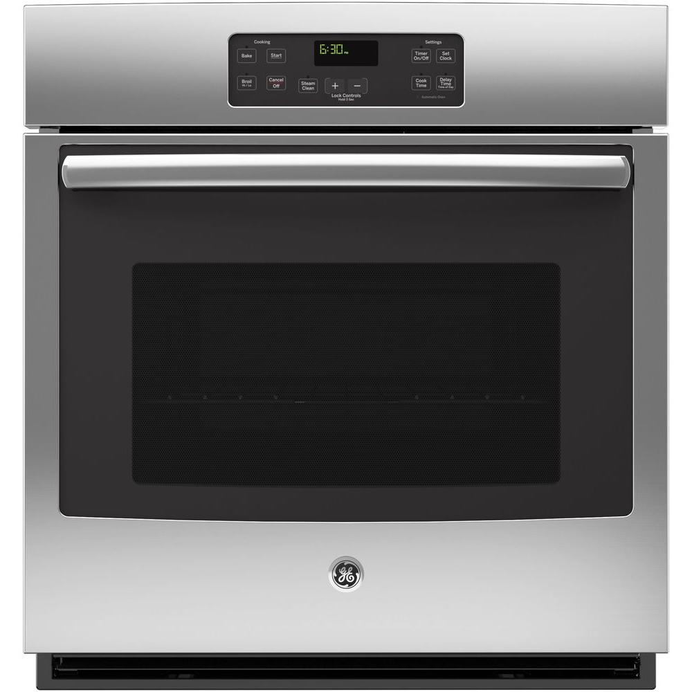 GE 27 in. Single Electric Wall Oven Standard Cleaning with Steam in Stainless Steel