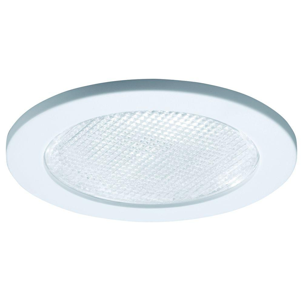 White Recessed Ceiling Light Trim With Prismatic Glass Lens,