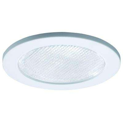 White Recessed Ceiling Light Trim With Prismatic Glass Lens, Wet