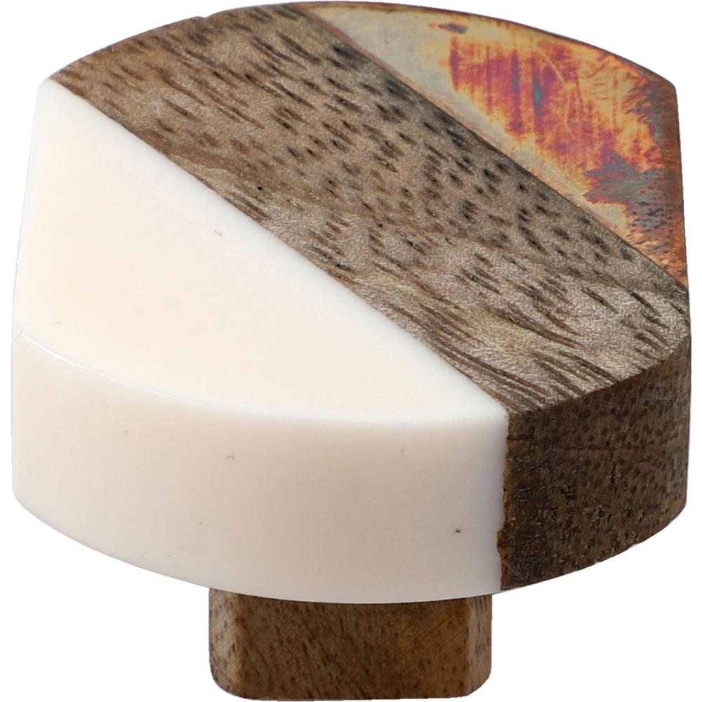Mascot Hardware Costa Mesa 1-4/7 in. White and Wood Cabinet Knob